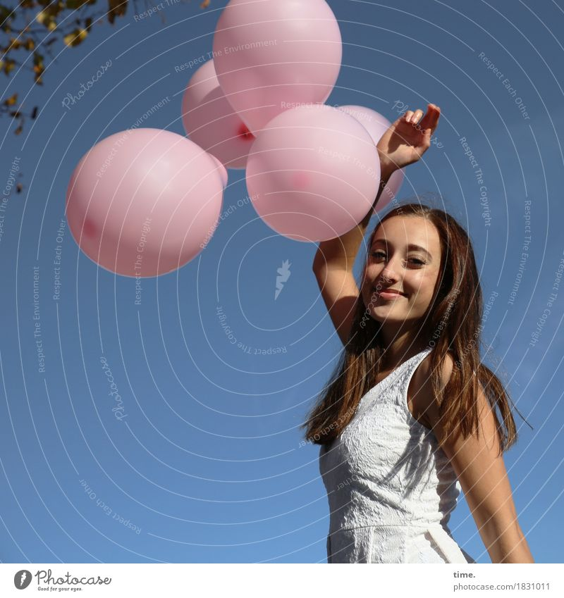 Human being Beautiful Relaxation Life Movement Feminine Time Creativity Stand Smiling Joie de vivre (Vitality) Observe Romance Balloon To hold on Dress