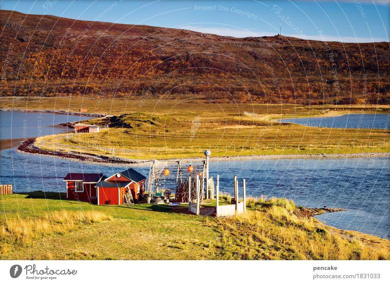 fisker fritz fisket fisket fersk fisket Nature Landscape Spring Fjord Hut Identity Idyll Norway Fisherman Fishermans hut Fishery Nordic Fishing net Red