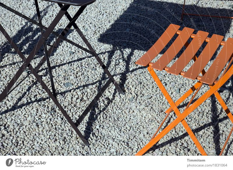 The simple things. Summer Beautiful weather Esthetic Gray Orange Black Leisure and hobbies Considerable Places Tavern Table Chair Sidewalk café Metal grit
