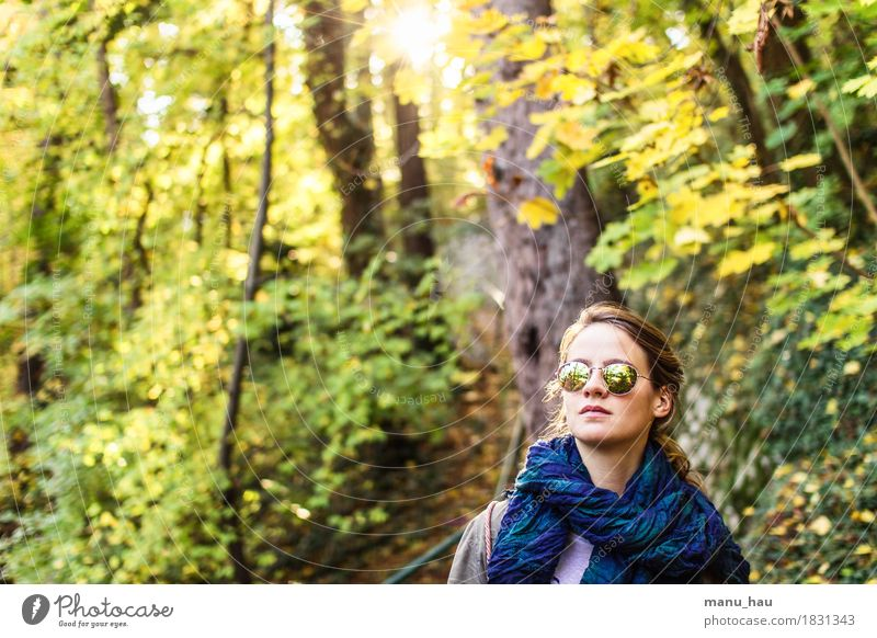 Autumn Day #2 Joy Healthy Calm Freedom Human being Feminine Young woman Youth (Young adults) Woman Adults Life 1 18 - 30 years Nature Sun Sunlight