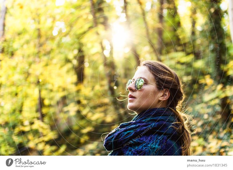 Autumn Day #4 Lifestyle Joy Healthy Calm Freedom Human being Feminine Young woman Youth (Young adults) Woman Adults 1 18 - 30 years Nature Sun Sunlight