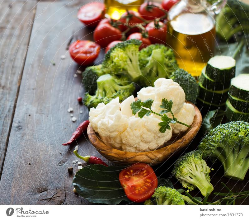 Fresh green broccoli and vegetables Vegetable Herbs and spices Cooking oil Eating Vegetarian diet Diet Bowl Bottle Table Autumn Leaf Collection Healthy Yellow
