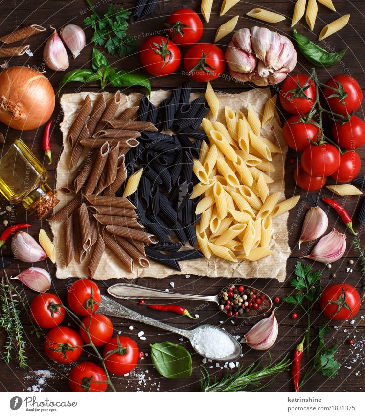 Penne pasta with vegetables, herbs and olive oil Green Red Leaf Dark Healthy Food Brown Fresh Table Herbs and spices Vegetable Grain Tradition Baked goods Bottle Meal