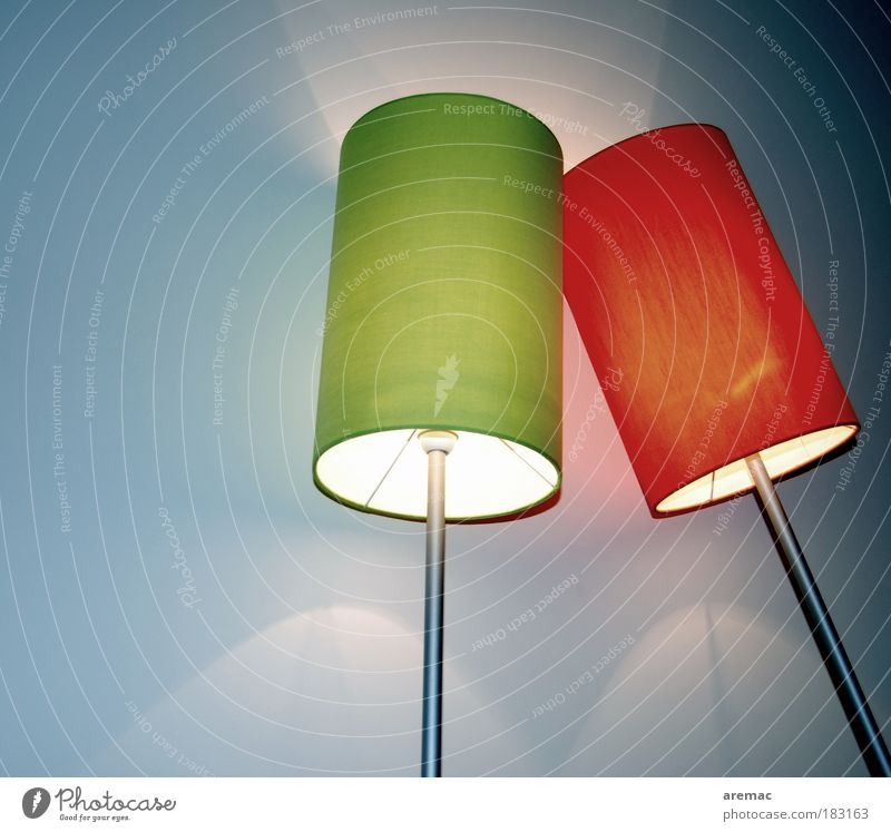 Green Blue Red Lamp Room Design Elegant Lifestyle Abstract Illuminate Furniture Relationship Attachment Lean To console
