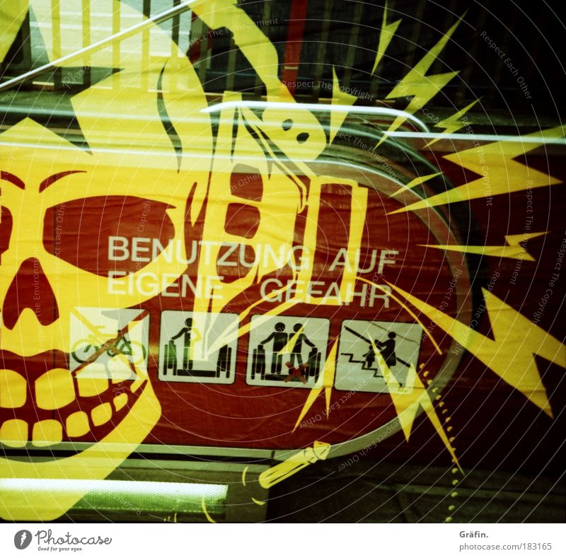 Use at your own risk Colour photo Exterior shot Experimental Lomography Abstract Pattern Deserted Skeleton Punk Music Listen to music Escalator Sign Ornament