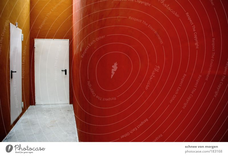 and walls fall. Room Architecture Door Concrete Gray Red White Wall (building) Orange Door handle Minimalistic Empty Floor covering Colour photo Subdued colour