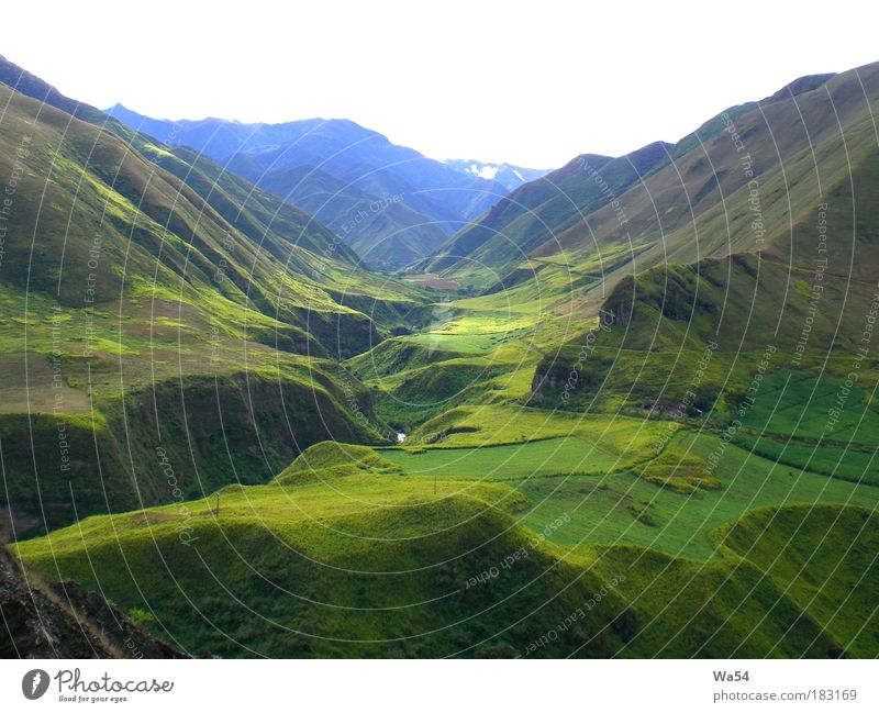 High in the Andes Colour photo Exterior shot Calm Vacation & Travel Mountain Landscape Grass Rock Looking Fantastic Blue Green Day