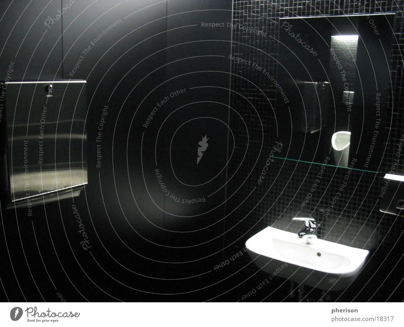 Man Black Room Mirror Toilet Basin Sink Photographic technology