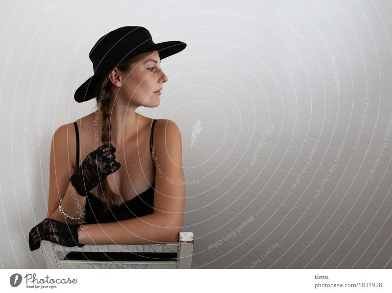 Human being Beautiful Calm Movement Feminine Time Contentment Elegant Observe Curiosity Safety Chair To hold on Serene Trust Hat