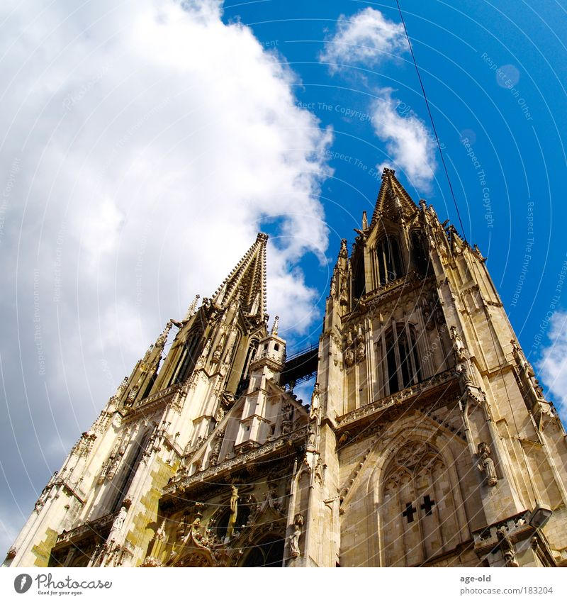 The wire to the top Education theology Art Environment Sky Clouds Summer Beautiful weather Regensburg Old town Church Dome Tourist Attraction Stone Trust Hope