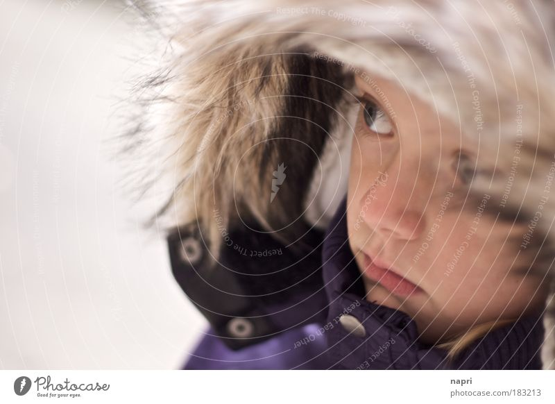 too early too cold Subdued colour Exterior shot Portrait photograph Girl 3 - 8 years Child Infancy Hooded (clothing) Infinity Curiosity Interest Timidity