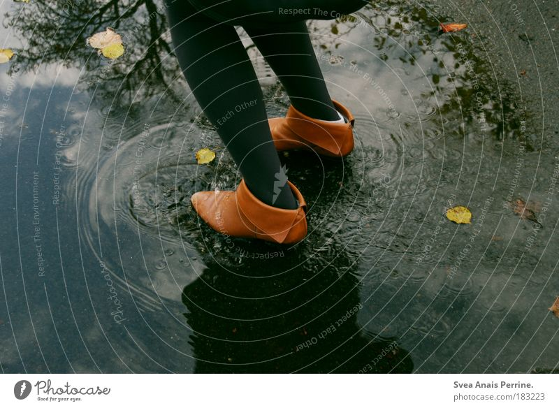 Human being Youth (Young adults) Water Tree Joy Leaf Feminine Emotions Footwear Jump Happy Legs Feet Rain Brown Wet