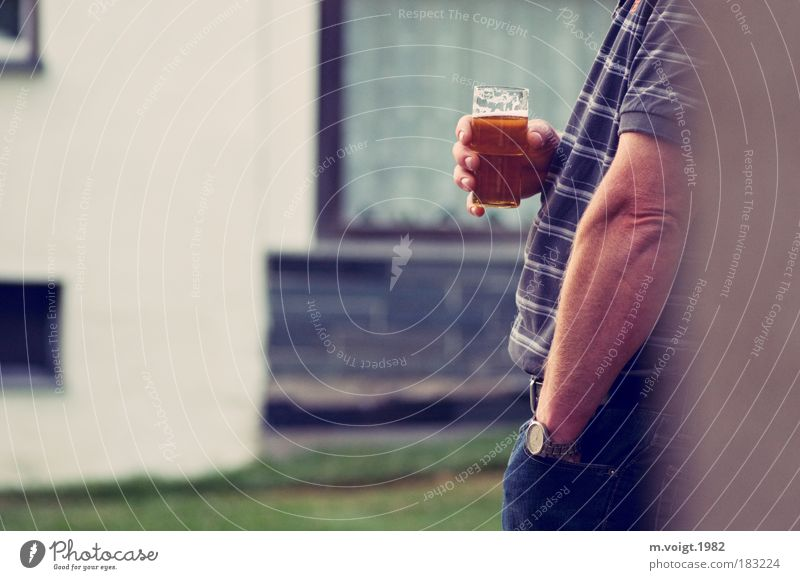 Cheers, Paul. Colour photo Subdued colour Exterior shot Copy Space left Evening Deep depth of field Profile Alcoholic drinks Beer Drinking Masculine Man Adults