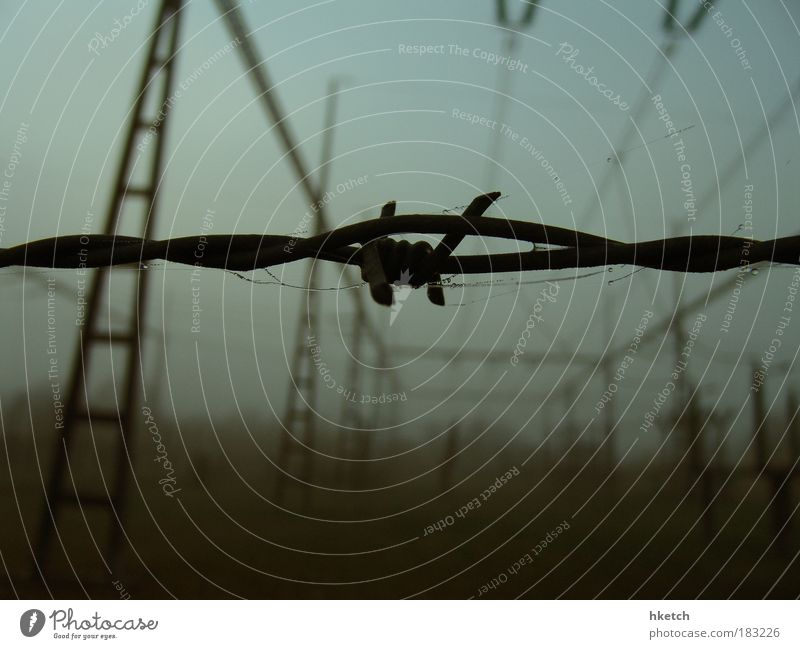 Loneliness Depth of field Autumn Sadness Fog Industry Grief Energy industry Electricity pylon Barrier November Barbed wire Barbed wire fence Energy crisis