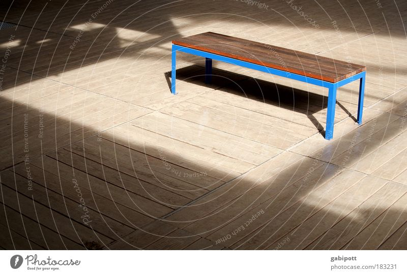 Blue Vacation & Travel Calm Relaxation Wood Dream Line Brown Wait Time Places Break Bench Protection Stripe Serene
