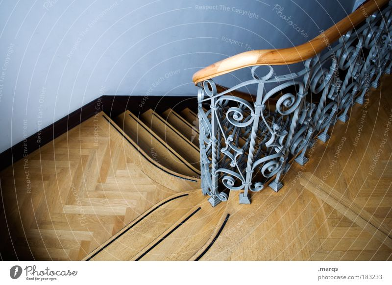From Colour photo Interior shot Deserted Bird's-eye view Elegant Living or residing House (Residential Structure) Interior design Staircase (Hallway) Banister