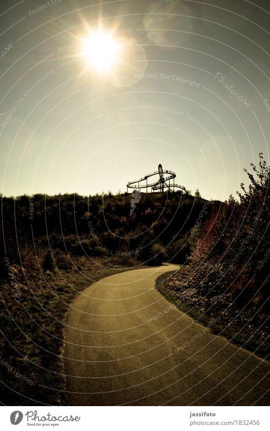up to Sun Art Work of art Sculpture Sunlight Hill Landmark Lanes & trails Calm Roller coaster Lens flare Duisburg Slagheap autumn light The Ruhr Ruhr district