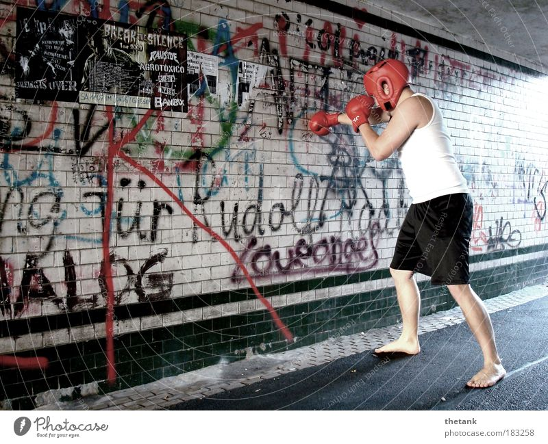 FUCK THE SYSTEM - at least a little bit Martial arts Boxing Boxing glove Protective headgear Masculine Young man Youth (Young adults) 1 Human being Tunnel