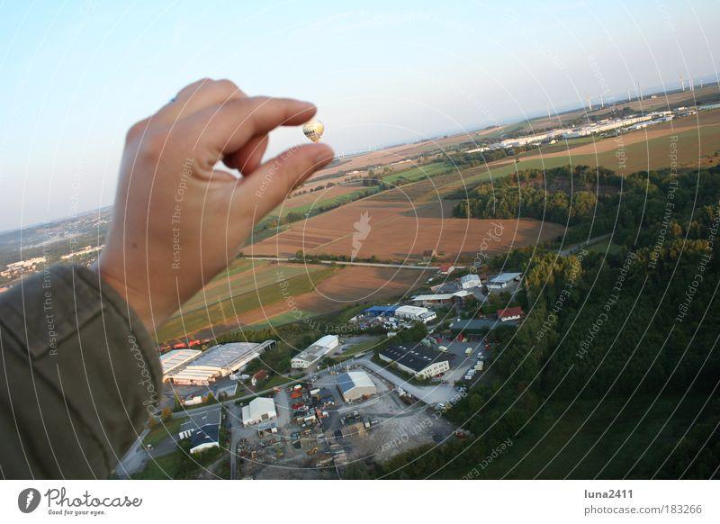 ...he's sooooo small!!! Exterior shot Aerial photograph Morning Bird's-eye view Forward Arm Hand Landscape Earth Sky Field Industrial plant Hot Air Balloon