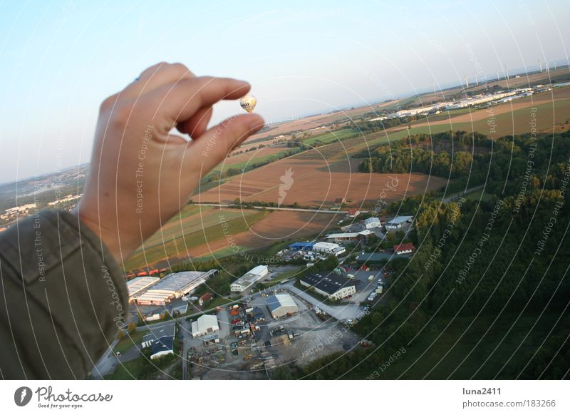 Hand Sky Economy Landscape Field Arm Nature Earth Human being Driving Looking Morning Hot Air Balloon Bird's-eye view Industrial plant