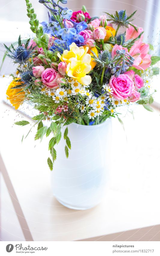 Bouquet with wildflowers in white vase Lifestyle Elegant Design Joy Happy Beautiful Harmonious Well-being Contentment Relaxation Calm Fragrance Flat (apartment)