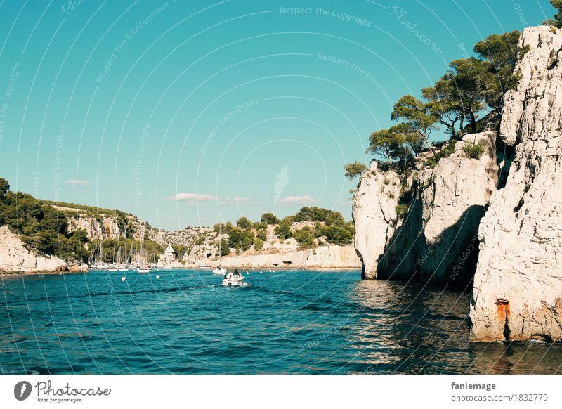 Calanque de Port Miou vue de la mer Environment Nature Landscape Beautiful weather Driving Calanque d'en Vau Cassis Mediterranean sea Navigation Boating trip