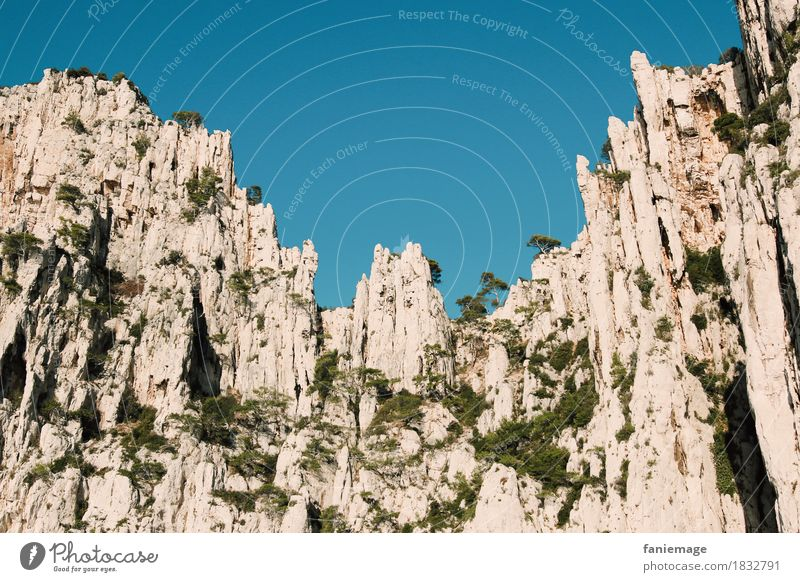 rock formation Environment Nature Threat Calanque d'en Vau Cassis Limestone Wall of rock Rock Rock formation Mediterranean sea Prongs Light blue Gray Illuminate