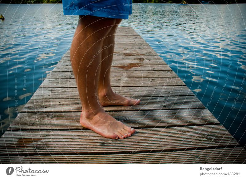 Human being Water Vacation & Travel Summer Loneliness Calm Far-off places Relaxation Freedom Lake Legs Feet Swimming & Bathing Masculine Break Wood