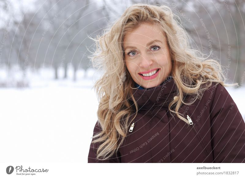 blonde woman in winter landscape Lifestyle Joy Happy Leisure and hobbies Human being Feminine Woman Adults 1 30 - 45 years Nature Landscape Winter Weather Ice