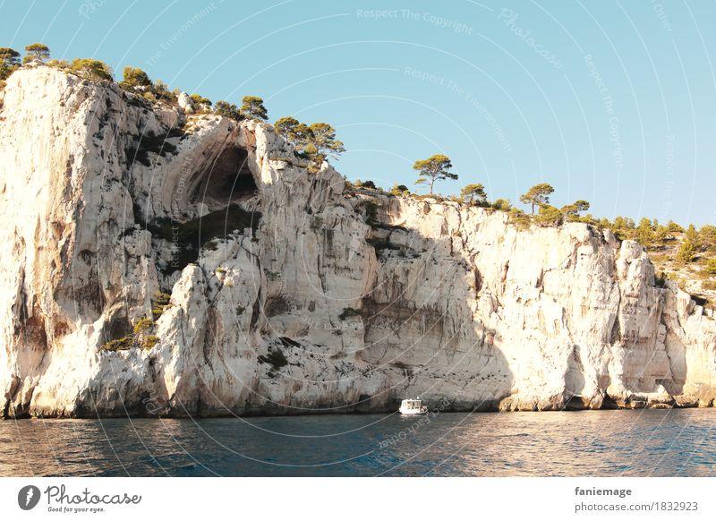 Calcaire Environment Nature Driving Limestone Wall of rock Calanque d'en Vau Cassis Mediterranean sea Provence Stone pine Tree Cave Rock Watercraft Ocean