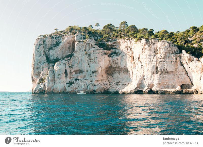 calanques Environment Nature Landscape Elements Water Cloudless sky Sun Beautiful weather Tree Waves Coast Ocean Swimming & Bathing Calanque d'en Vau Marseille