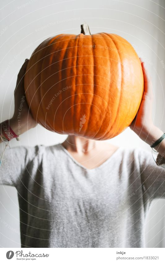 Pumpkin head jun. Vegetable Pumpkin time Nutrition Joy Leisure and hobbies Thanksgiving Hallowe'en Girl Young woman Youth (Young adults) Infancy Life Body Head