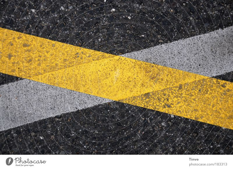 White Black Yellow Street Road traffic Transport Colour photo Exterior shot Change Tracks Lanes & trails Traffic infrastructure Motoring Pavement Road marking