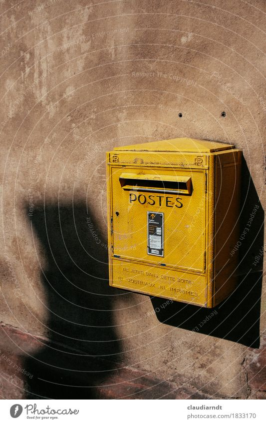 Write again... France Village Wall (barrier) Wall (building) Old Yellow Communicate Mailbox French Alsace pen friendship Colour photo Exterior shot Detail