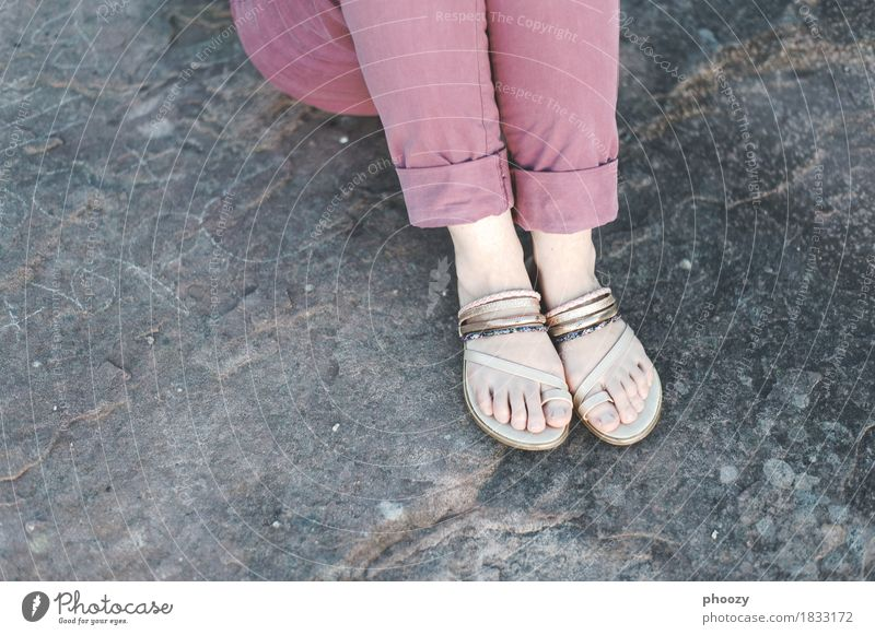 sandals Feminine Woman Adults Feet 1 Human being 30 - 45 years Pants Footwear Flip-flops Crouch Violet Turquoise Colour photo Copy Space left Copy Space bottom