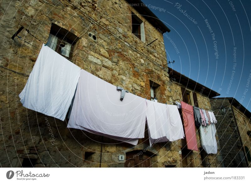 White Warmth Building Elegant Facade Arrangement Living or residing Decoration Ecological Laundry Underwear Italy Tuscany Clothesline Old town Thrifty