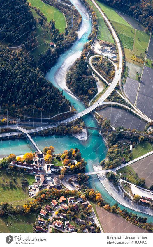 City Landscape Forest Street Lanes & trails Autumn Above Transport Field Beautiful weather Bridge River Network River bank Navigation Switzerland