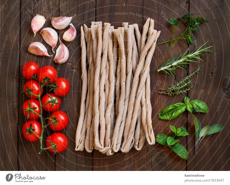 Raw italian pasta, herbs and vegetables Vegetable Dough Baked goods Herbs and spices Nutrition Vegetarian diet Diet Italian Food Table Leaf Dark Fresh Healthy