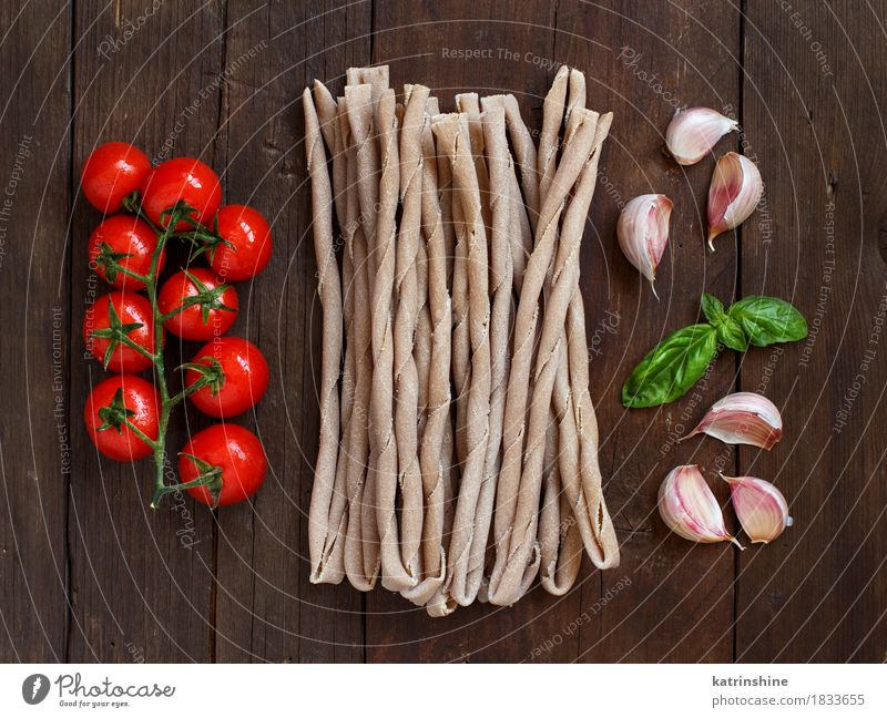 Raw italian pasta, basil and vegetables Vegetable Dough Baked goods Herbs and spices Nutrition Vegetarian diet Diet Italian Food Table Leaf Dark Fresh Brown