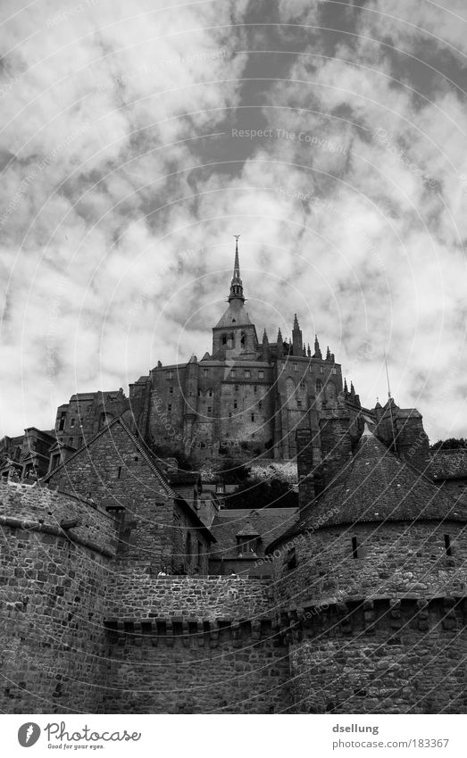 The holy woodmichel Black & white photo Exterior shot Deserted Copy Space top Day Contrast Sunlight Deep depth of field Worm's-eye view Culture Sky Clouds