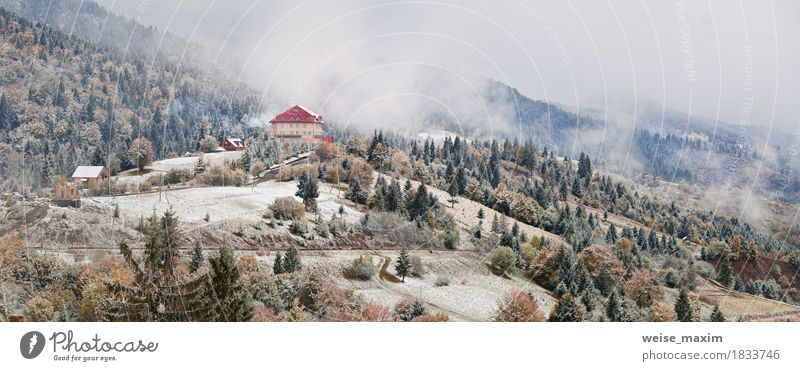 Hotel in mountains. Snow and fog. First snow in autumn Nature Vacation & Travel White Tree Landscape House (Residential Structure) Far-off places Winter Forest Mountain Environment Yellow Meadow Autumn Natural Snow