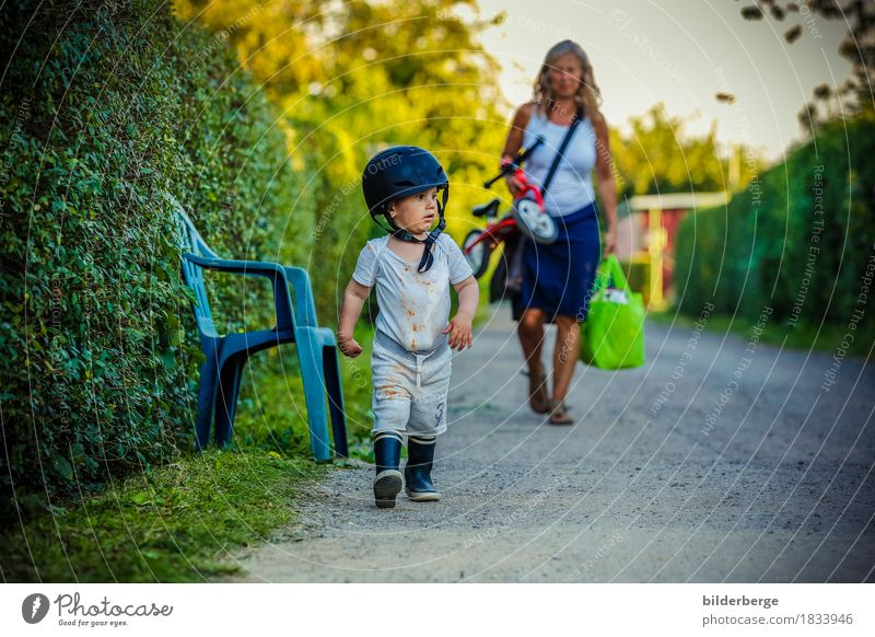 Woman Child Nature Summer Adults Environment Movement Family & Relations Playing Small Garden Freedom Might Safety Toddler War