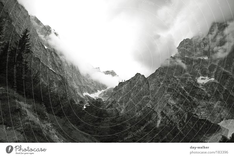 Dark times at the Watzmann east wall Black & white photo Deserted Morning Light Shadow Contrast Wide angle Climbing Mountaineering Nature Landscape Elements