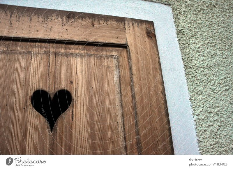 wooden heart Deserted Gate Facade Door Heart Old Esthetic Brown White Gray Toilet Entrance Love Affection Wall (building) Wooden wall Board Texture of wood