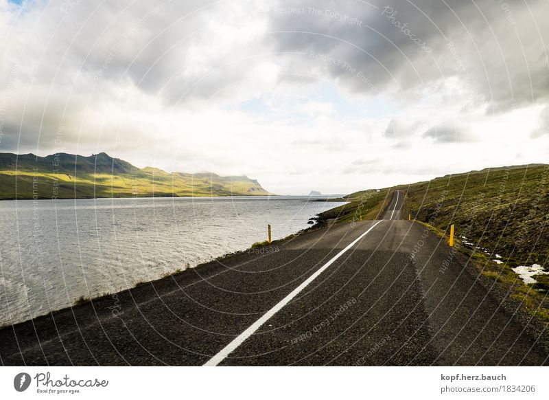 on the track Landscape Clouds Hill Fjord Iceland Street Driving Discover Idyll Risk Colour photo Exterior shot Deserted