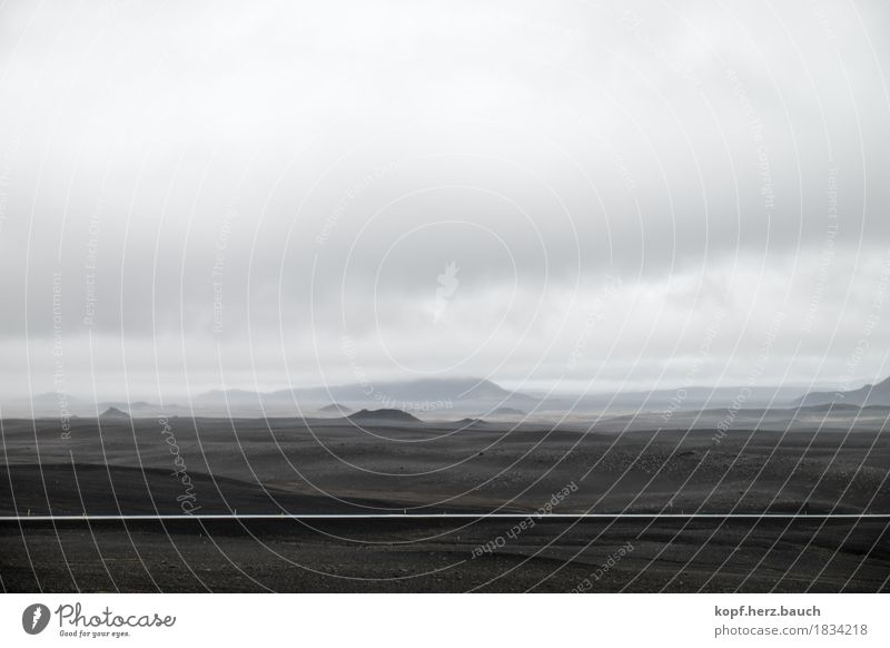 moon's path Landscape Clouds Moon Bad weather Fog Hill Iceland Lanes & trails Stone Infinity Calm Loneliness Lunar landscape Street Dark Black & white photo