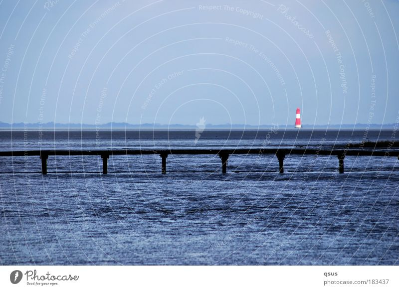 Water Ocean Blue Far-off places Waves Coast Trip Footbridge Navigation Lighthouse North Sea Road marking Mud flats Horizontal Jadebusen