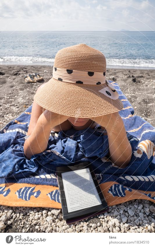 Submerged Contentment Calm Leisure and hobbies Vacation & Travel Tourism Trip Far-off places Sunbathing Beach Ocean Island E-Book Human being Feminine Woman