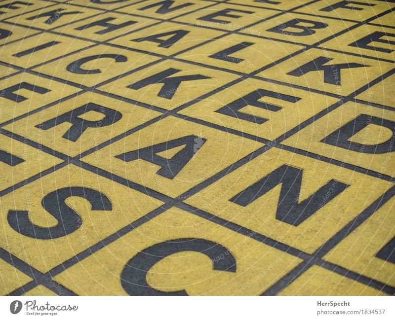 C A K A N E L E N S R C H Art Characters Yellow Black Letters (alphabet) Square Ground painted on Illustration Graph Background picture Graphic Colour photo