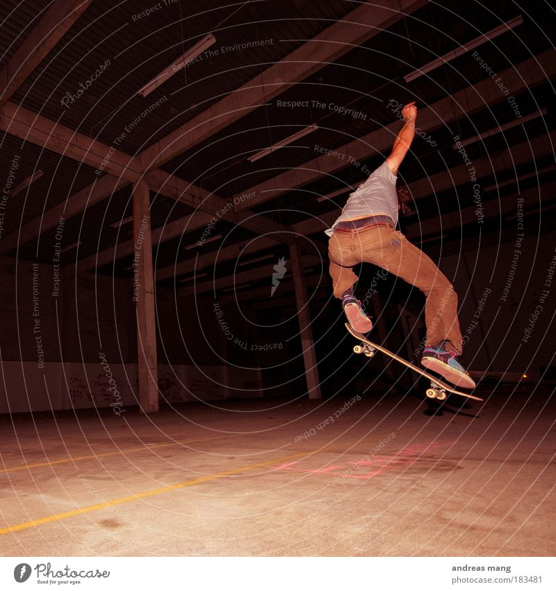 Frontside 180 Colour photo Interior shot Low-key Style Leisure and hobbies Sports Extreme sports Skateboard Skateboarding Human being Young man